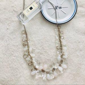 Long Gold Teardrop Beaded Necklace